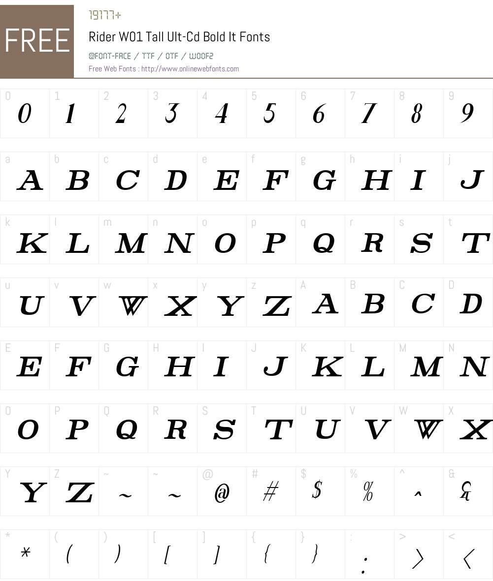 RiderW01-TallUlt-CdBoldIt Font Screenshots