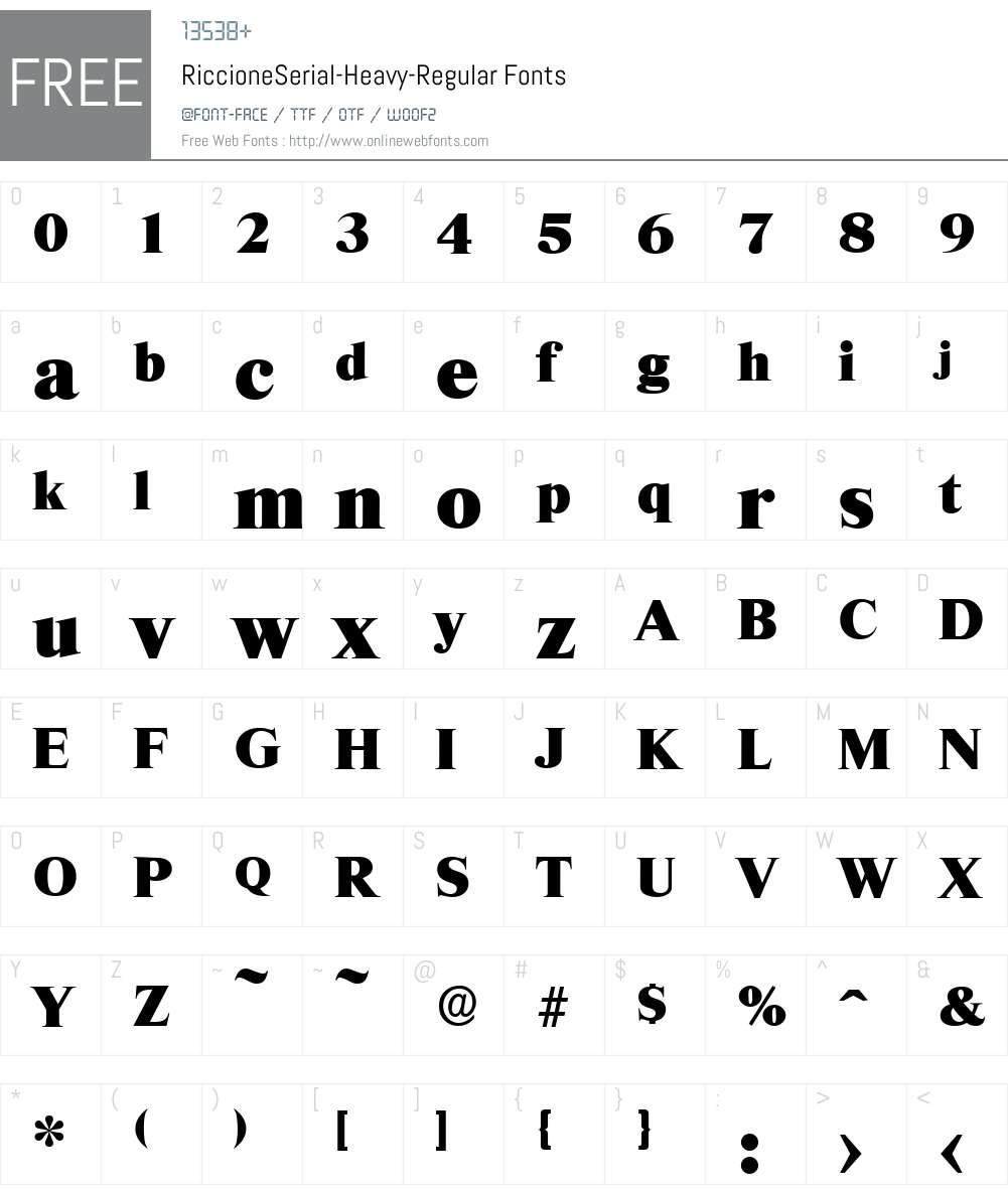 RiccioneSerial-Heavy Font Screenshots