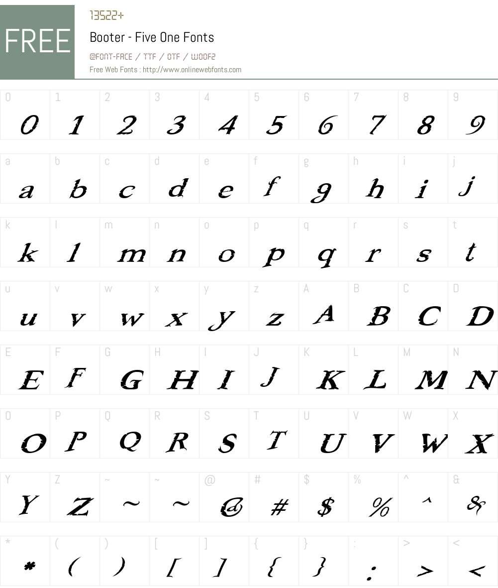 Booter - Five One Font Screenshots