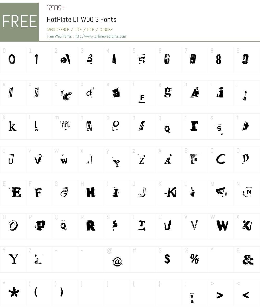 HotPlateLTW00-3 Font Screenshots