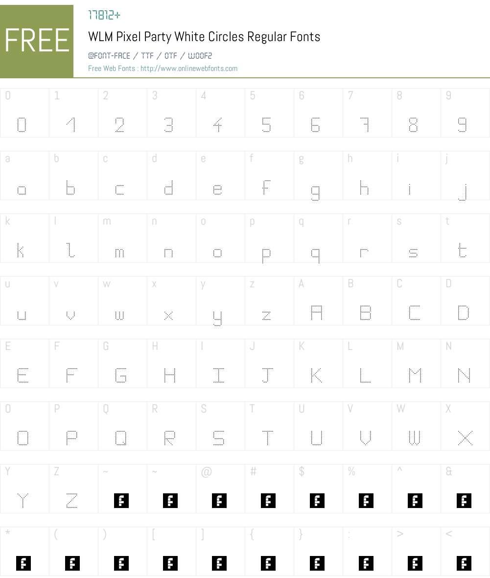 WLM Pixel Party White Circles Font Screenshots