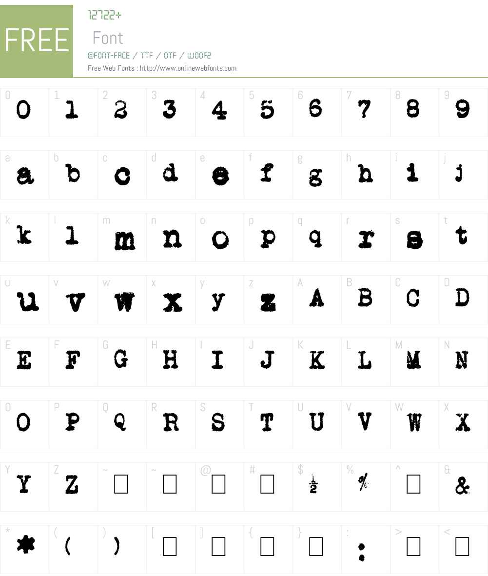 L.C. Smith 5 typewriter Font Screenshots