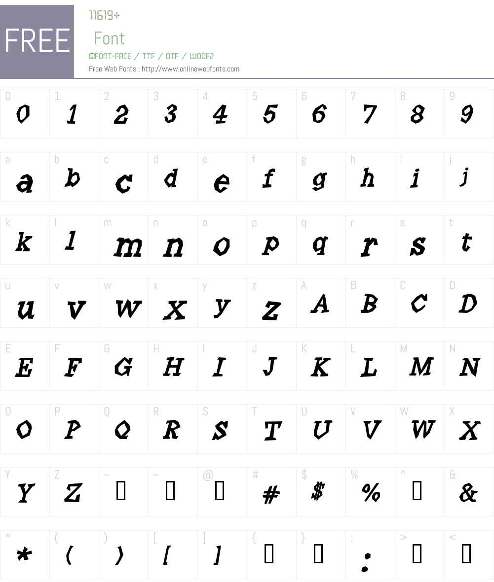 Angulatte Font Screenshots