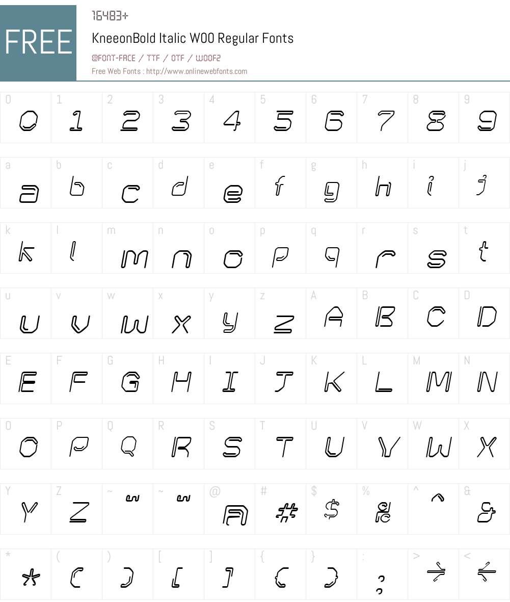 KneeonBold Italic Font Screenshots