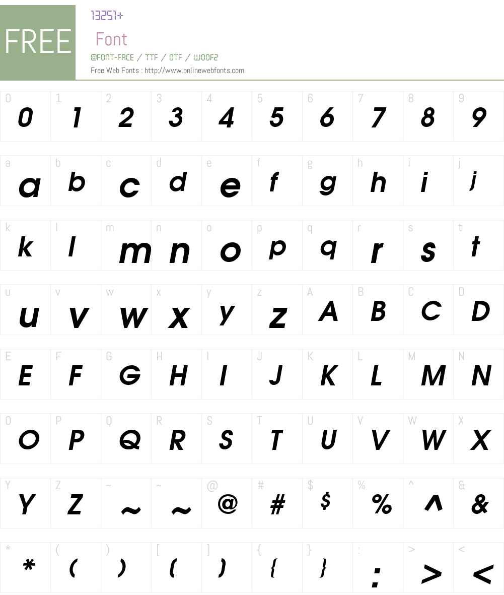 Moderne Font Screenshots