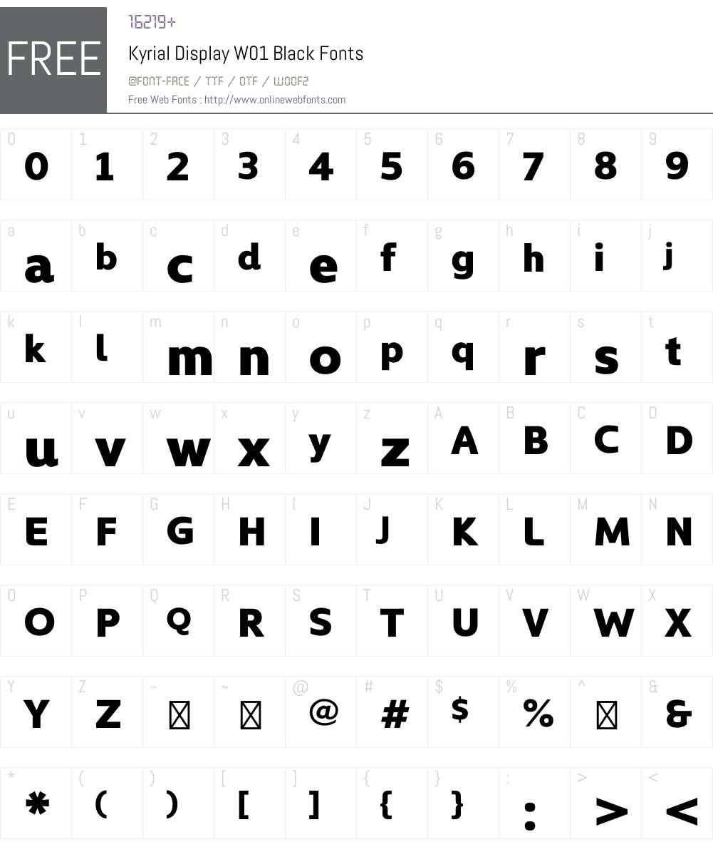 KyrialDisplayW01-Black Font Screenshots