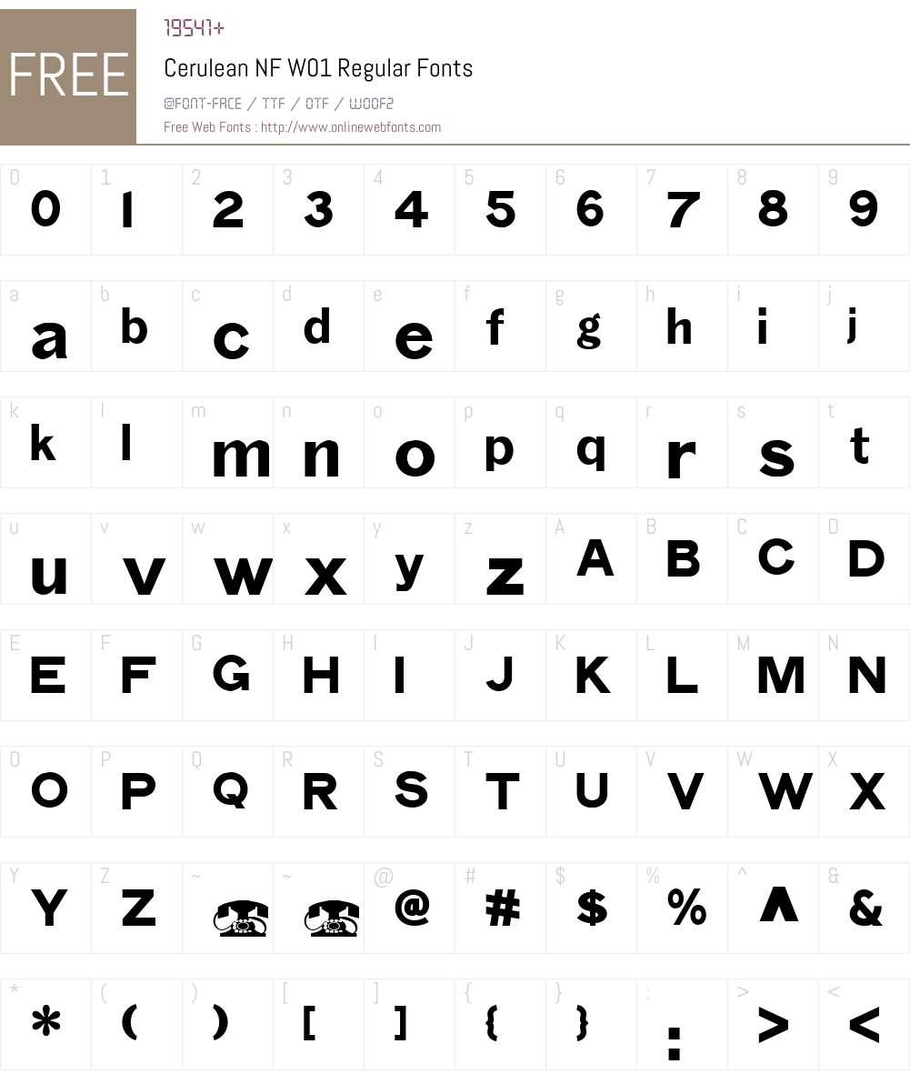 CeruleanNFW01-Regular Font Screenshots