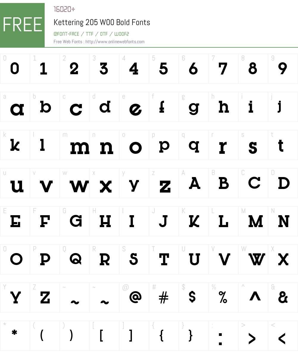 Kettering205W00-Bold Font Screenshots
