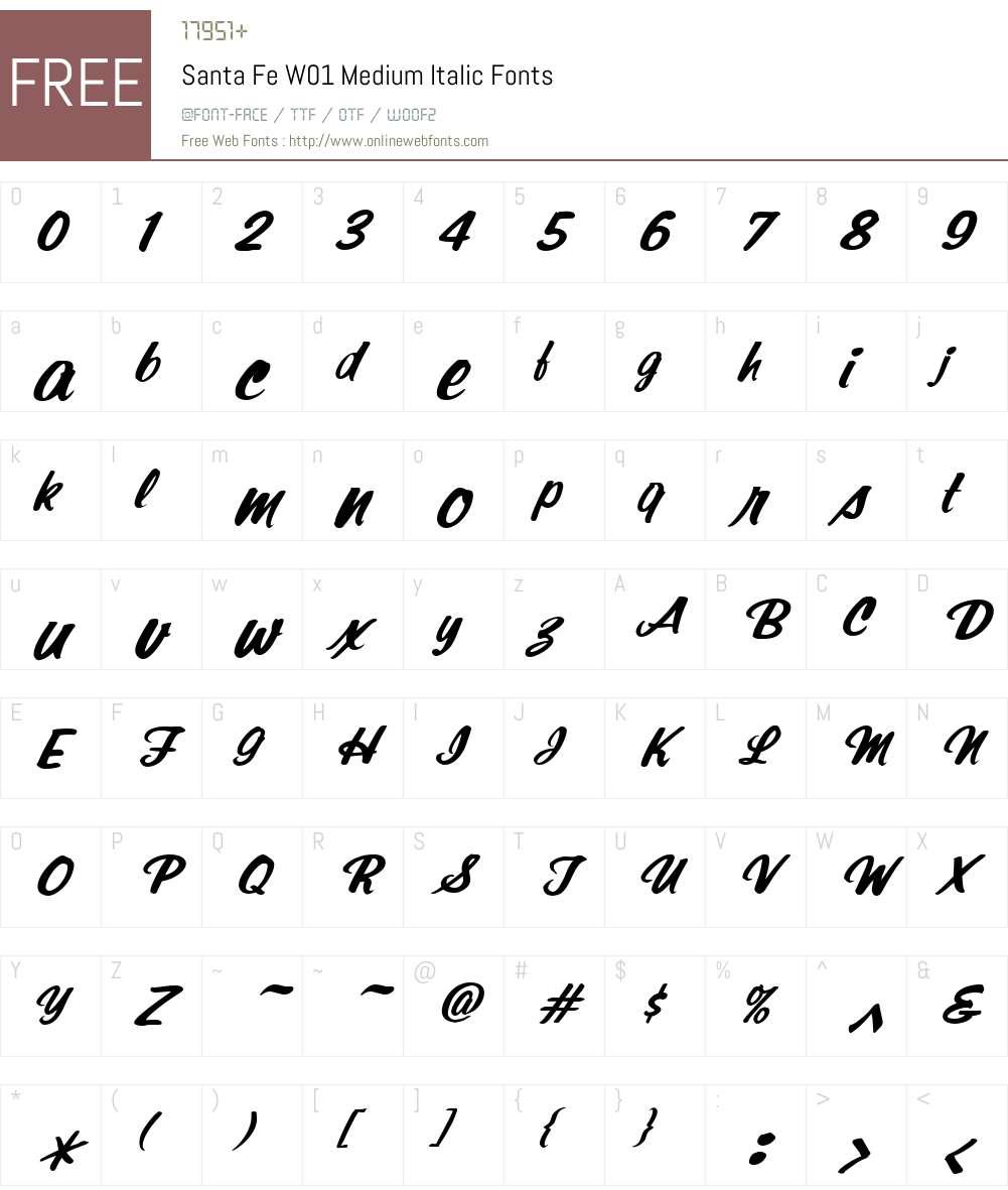 SantaFeW01-MediumItalic Font Screenshots