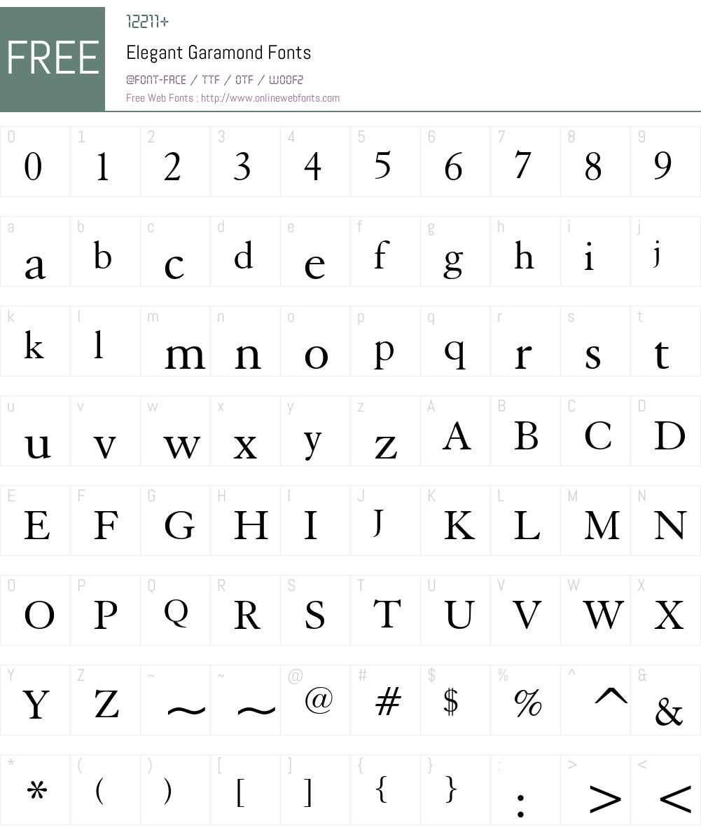 Elegant Garamond Font Screenshots