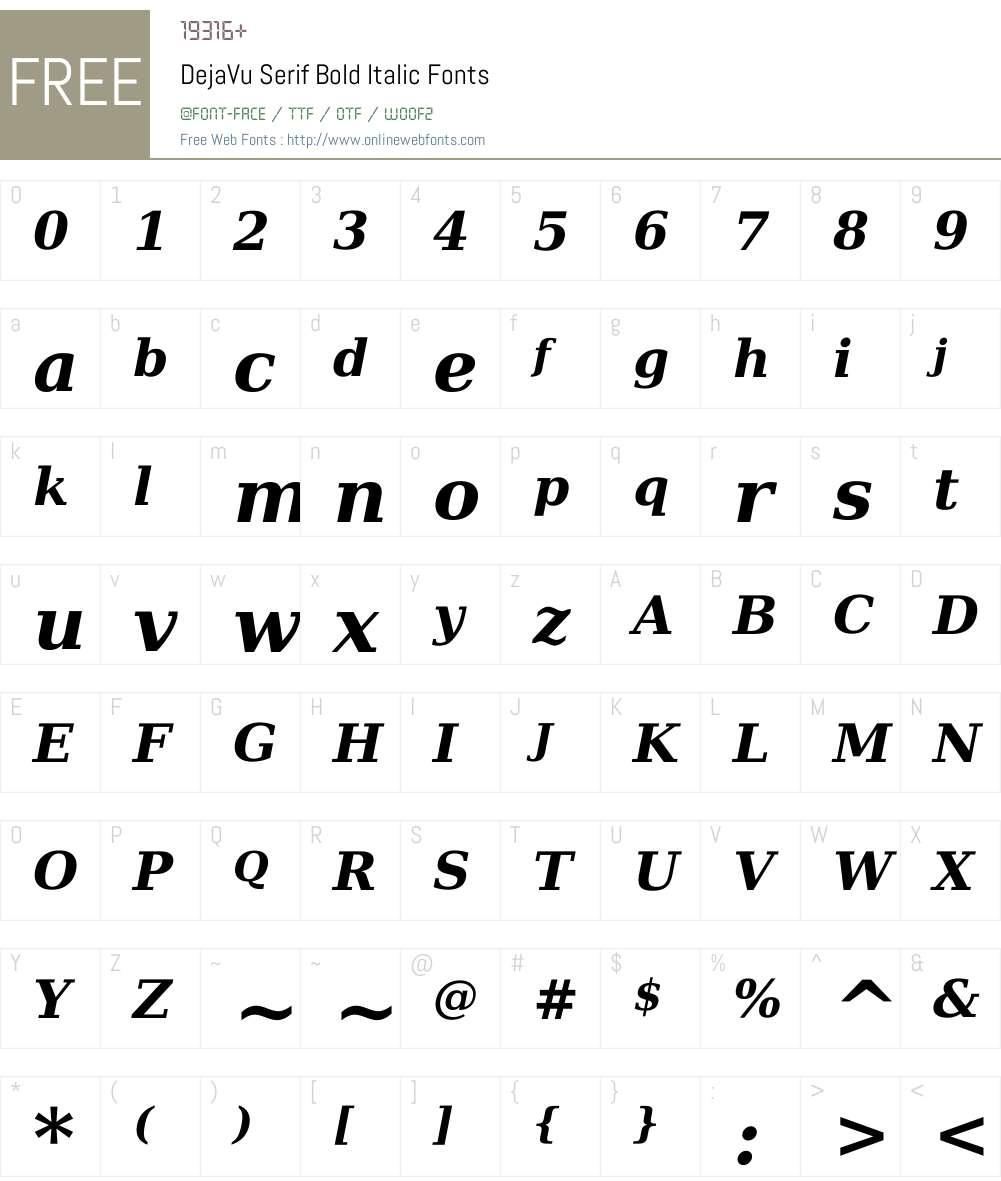 DejaVu Serif Font Screenshots
