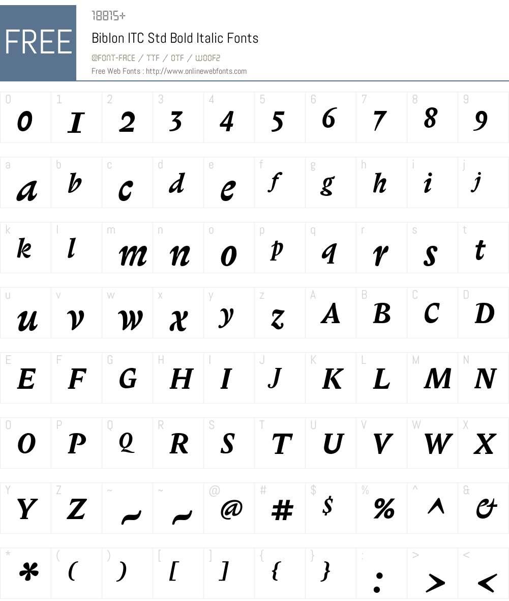Biblon ITC Std Font Screenshots