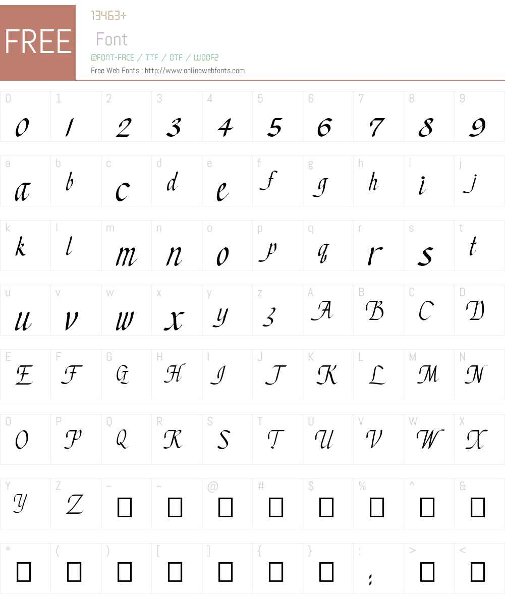 Chancery Cursive - DGL Font Screenshots