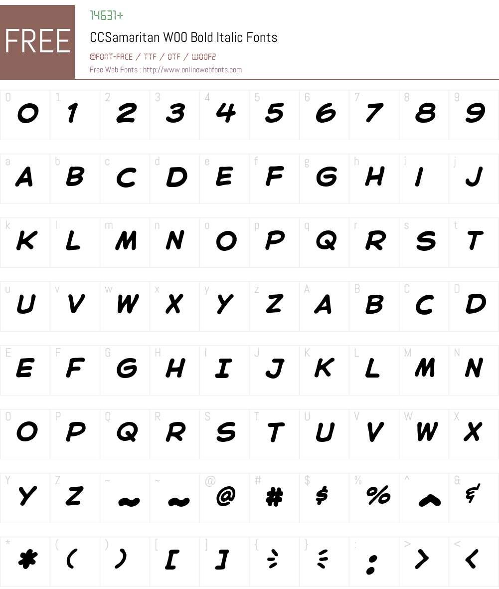 CCSamaritanW00-BoldItalic Font Screenshots