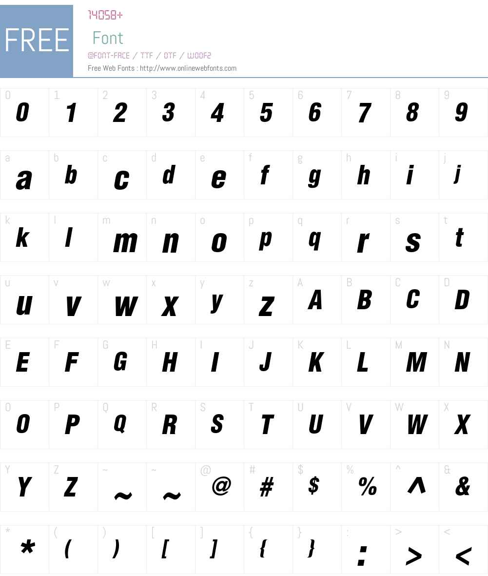 AGLettericaCondL Font Screenshots