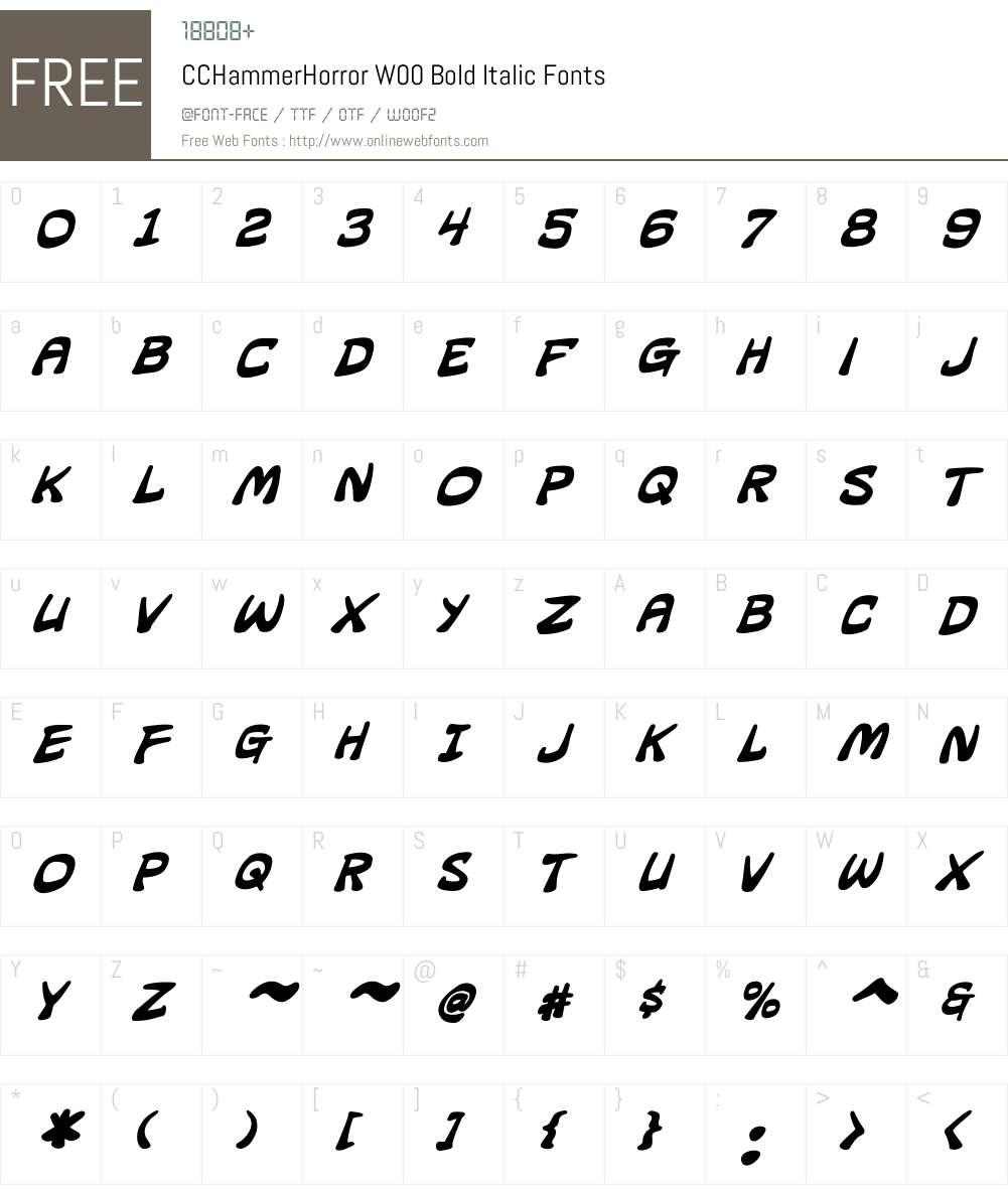 CCHammerHorrorW00-BoldIt Font Screenshots