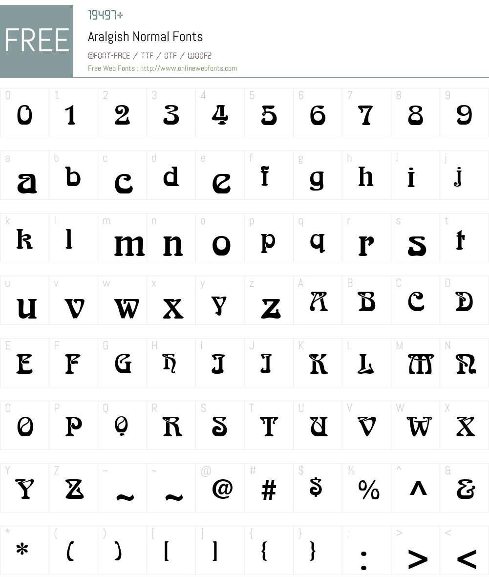 Aralgish Font Screenshots