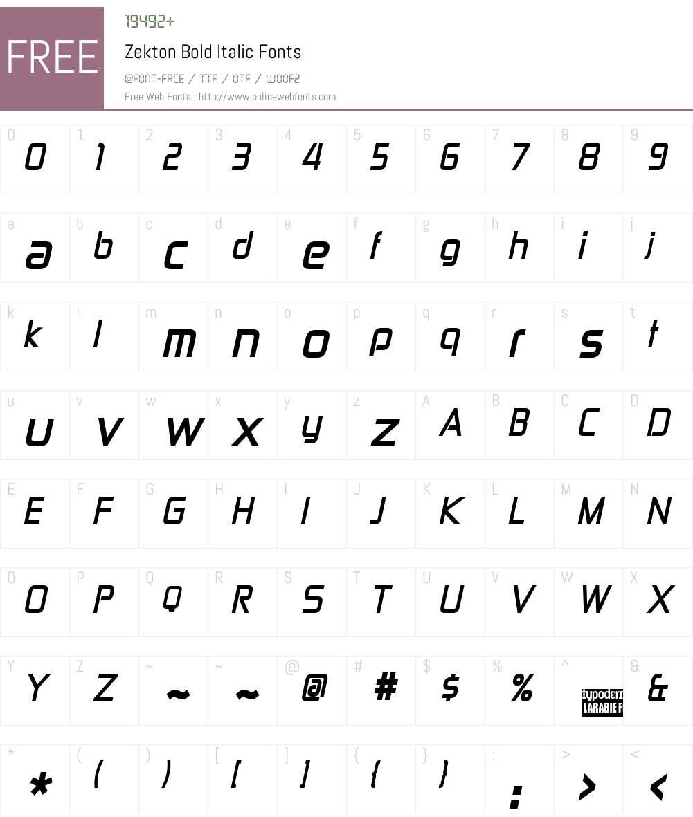 Zekton Font Screenshots