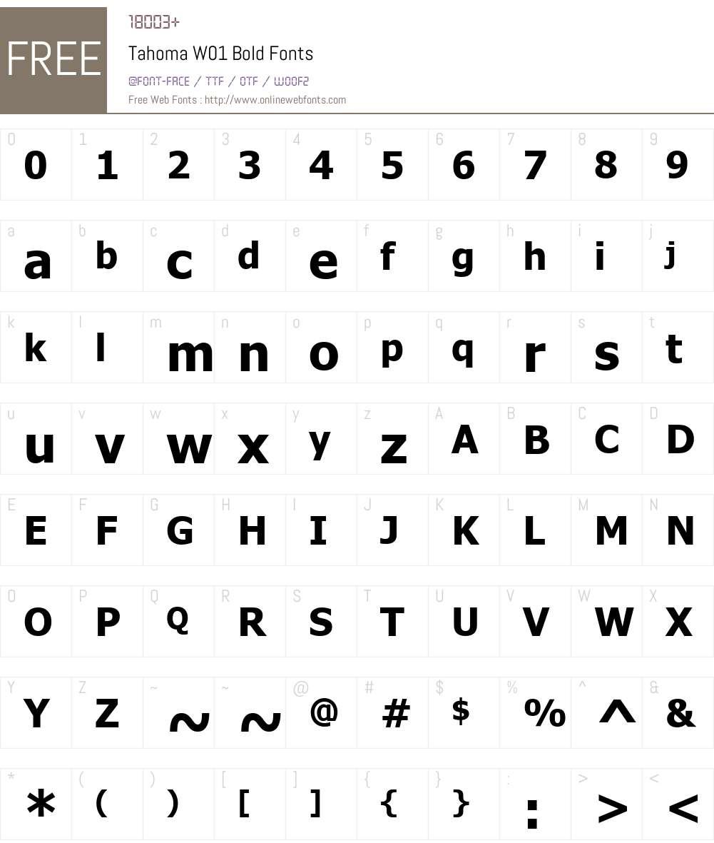 TahomaW01-Bold Font Screenshots