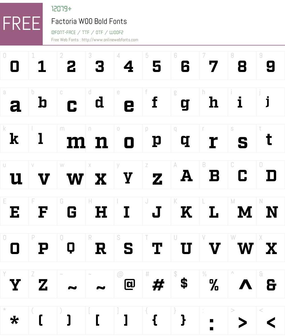 FactoriaW00-Bold Font Screenshots