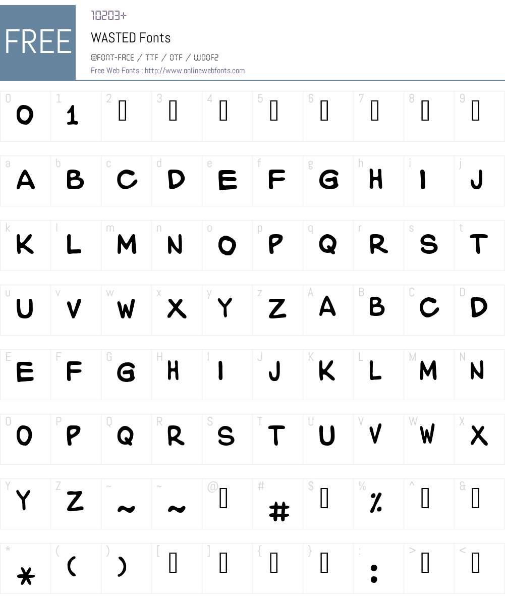 WASTED Font Screenshots