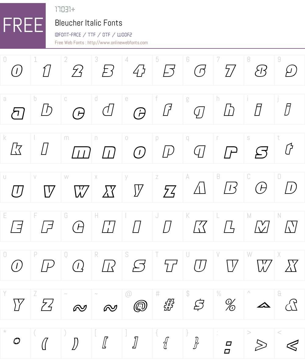 Bleucher Font Screenshots