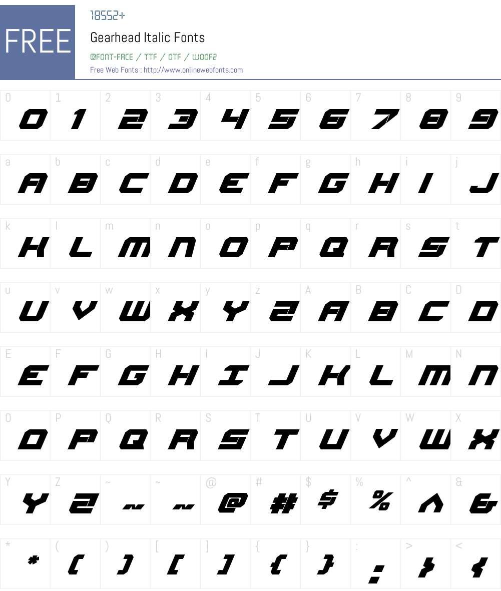 Gearhead Italic Font Screenshots