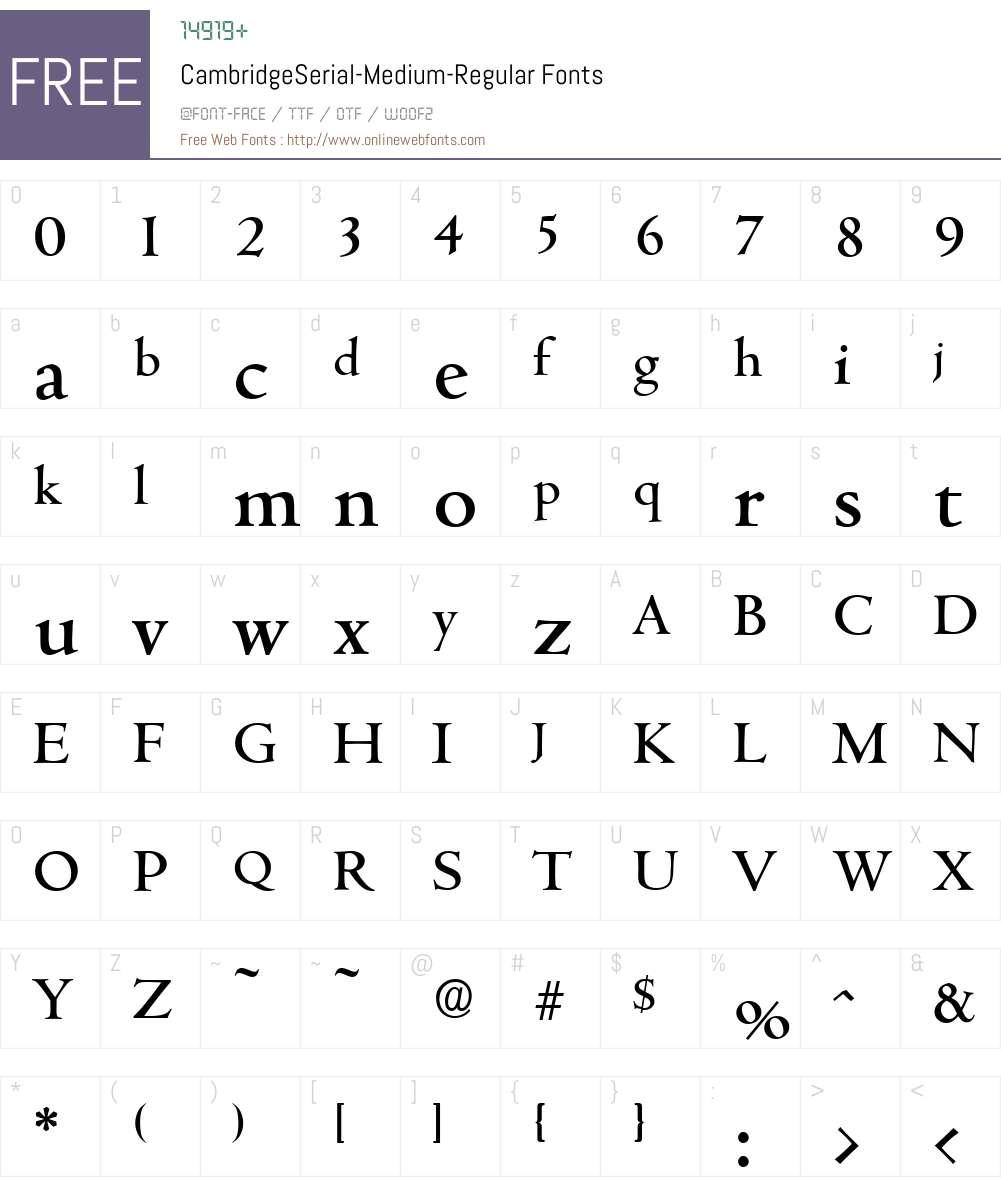 CambridgeSerial-Medium Font Screenshots