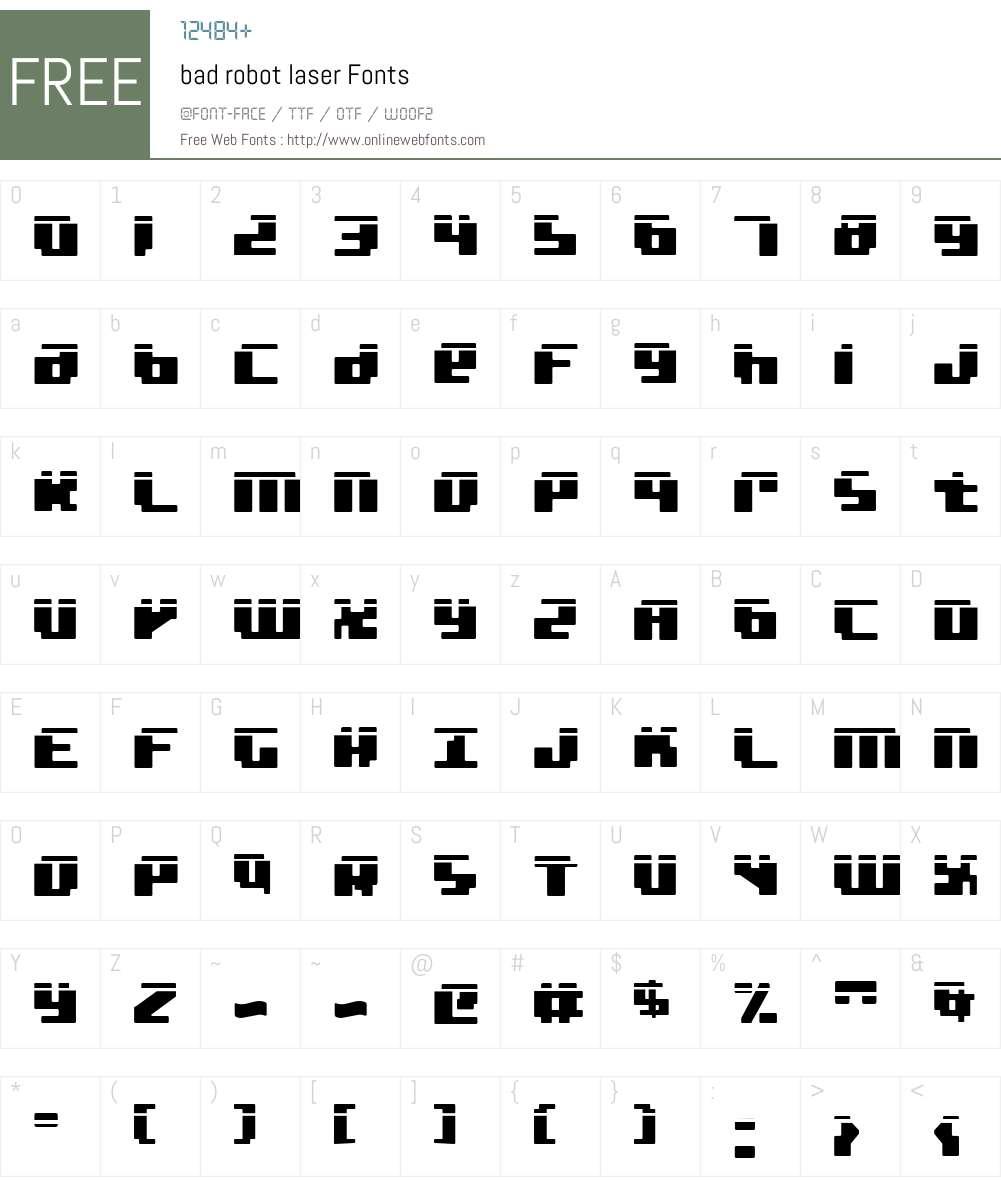 bad robot laser Font Screenshots
