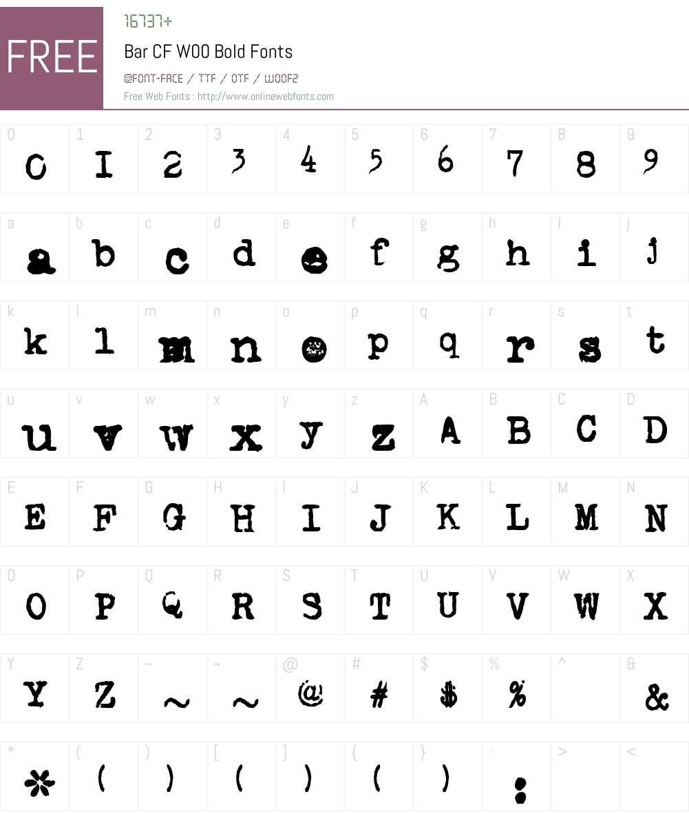 BarCFW00-Bold Font Screenshots