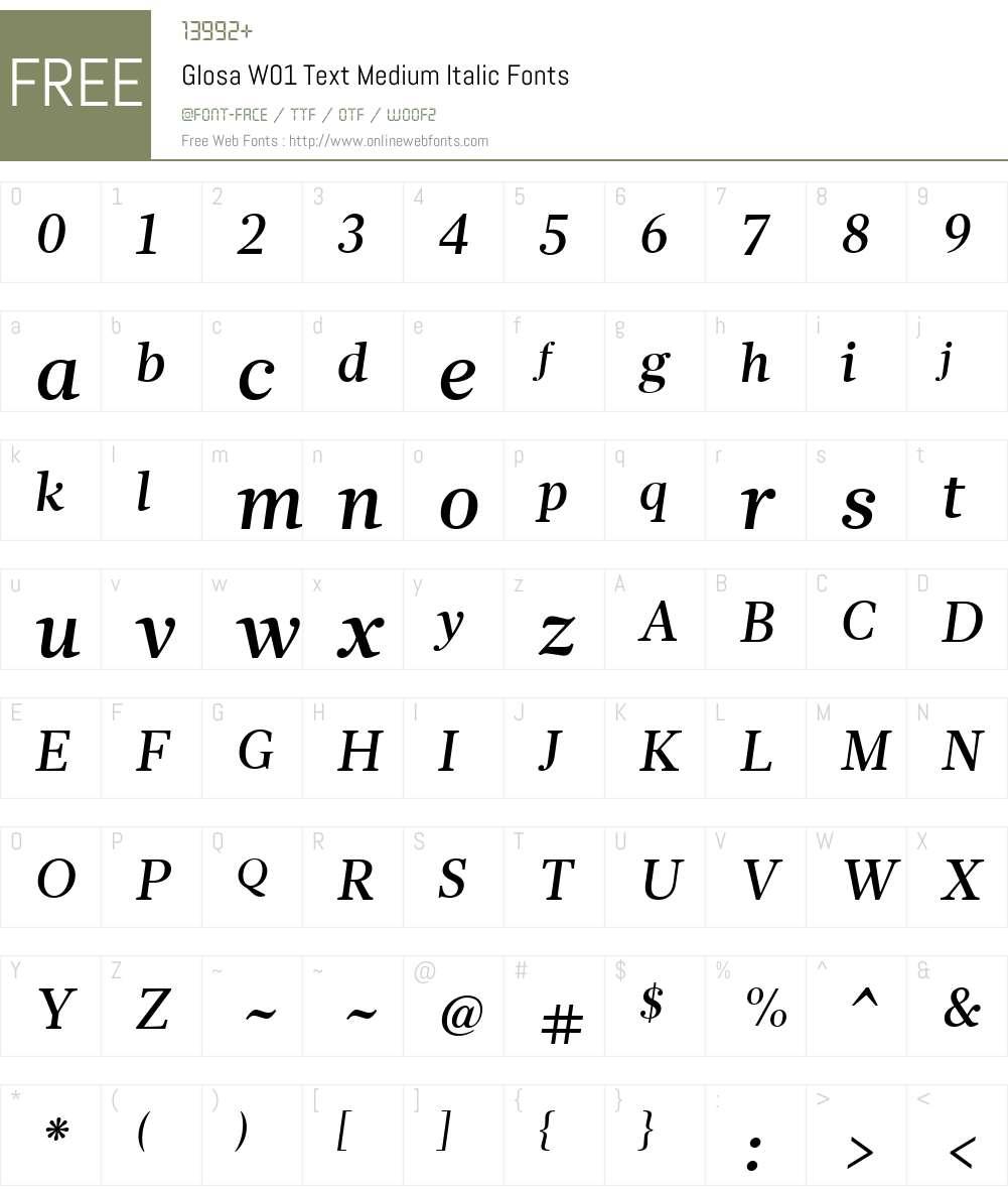 GlosaW01-TextMediumItalic Font Screenshots