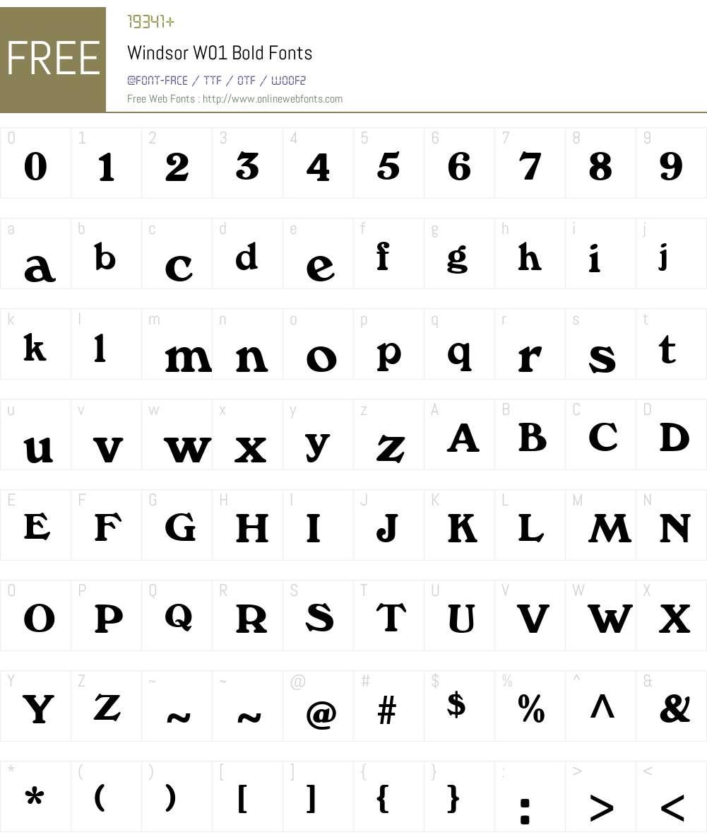 WindsorW01-Bold Font Screenshots