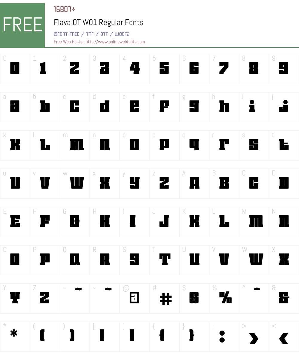 FlavaOTW01-Regular Font Screenshots