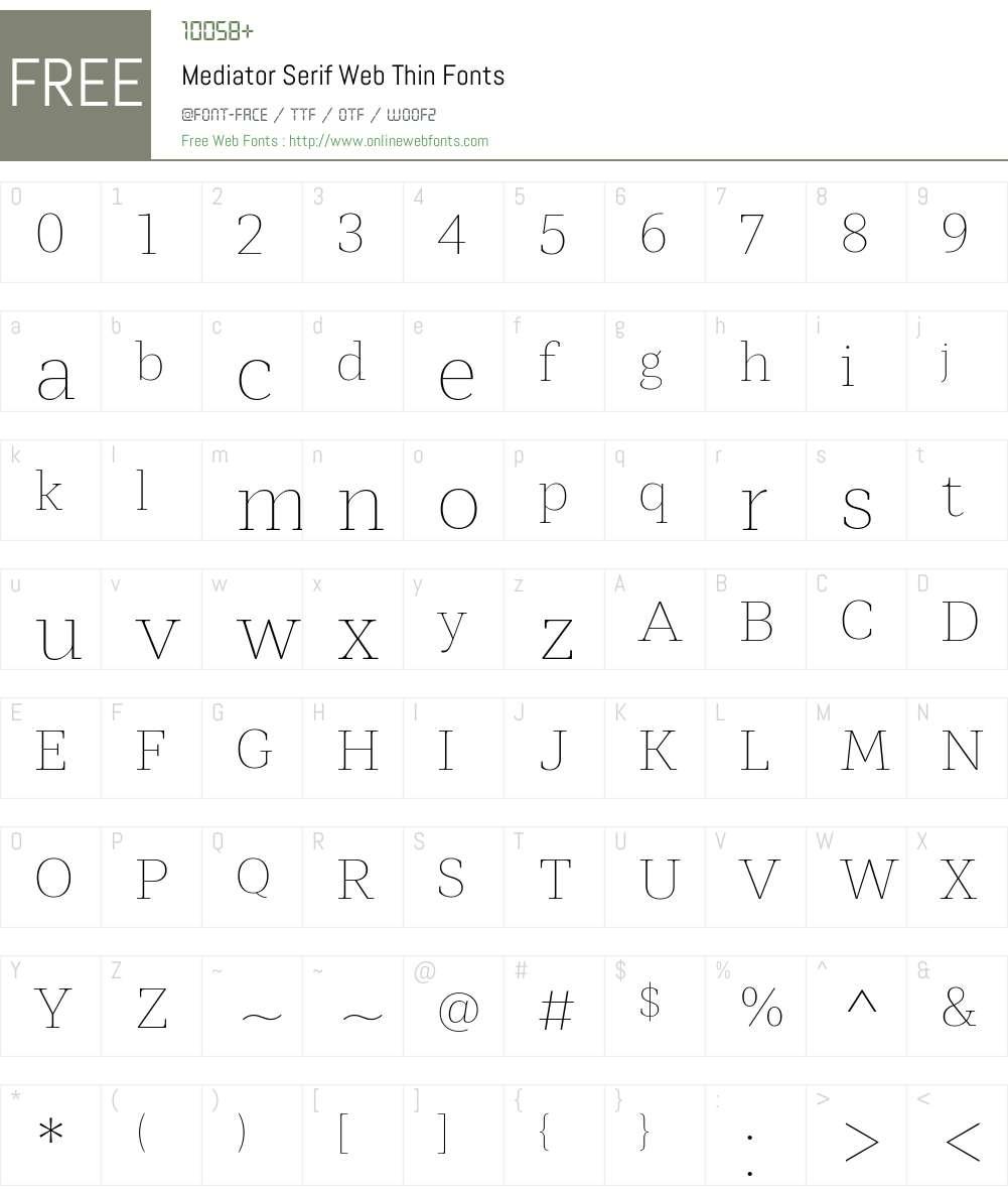 Mediator Serif Web Thin Font Screenshots
