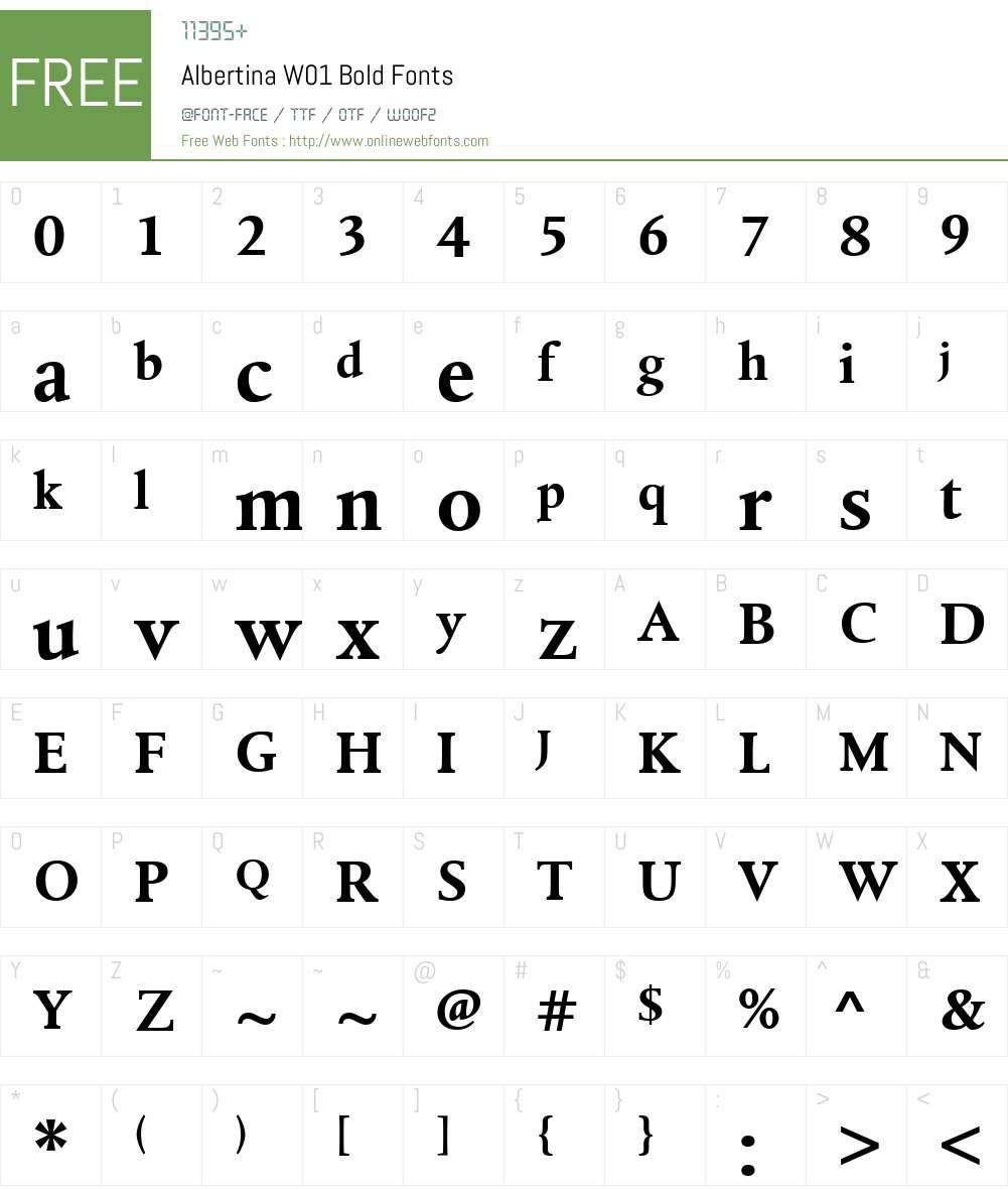 AlbertinaW01-Bold Font Screenshots