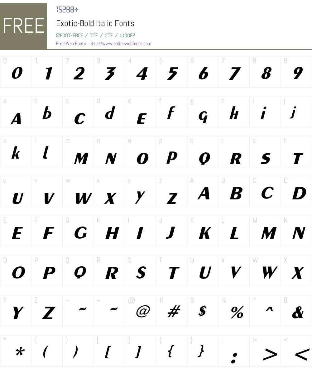 Exotic-Bold Itlc Font Screenshots