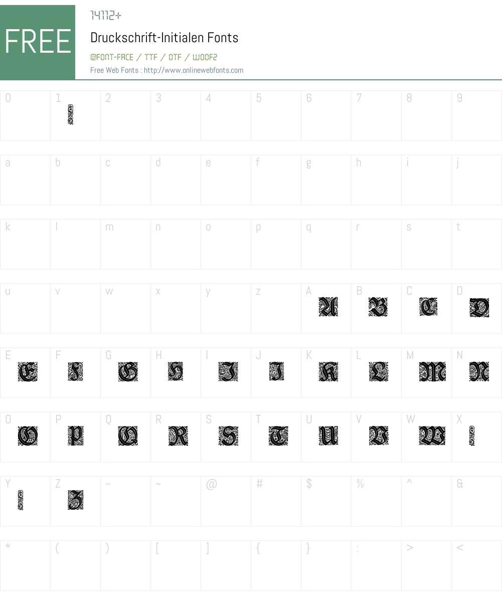 Druckschrift-Initialen Font Screenshots