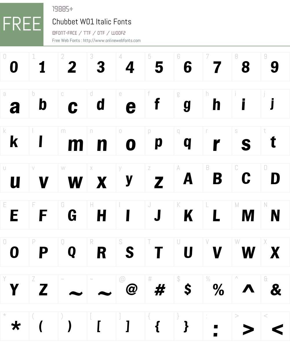 ChubbetW01-Italic Font Screenshots