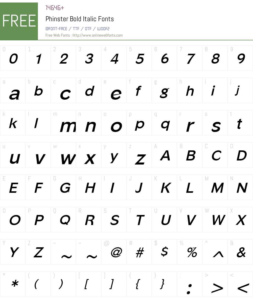 Phinster Font Screenshots