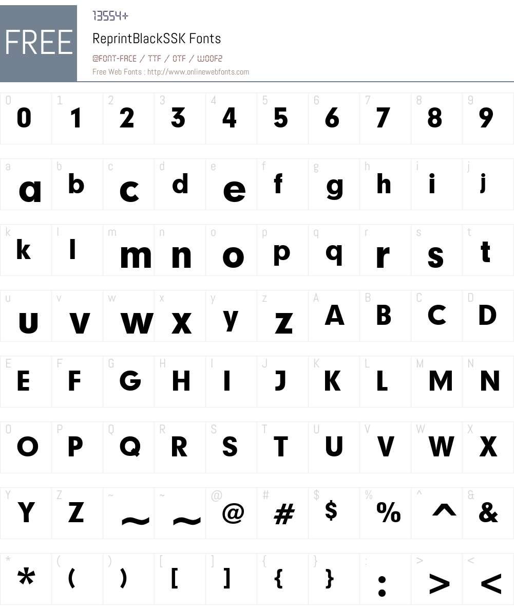 ReprintBlackSSK Font Screenshots