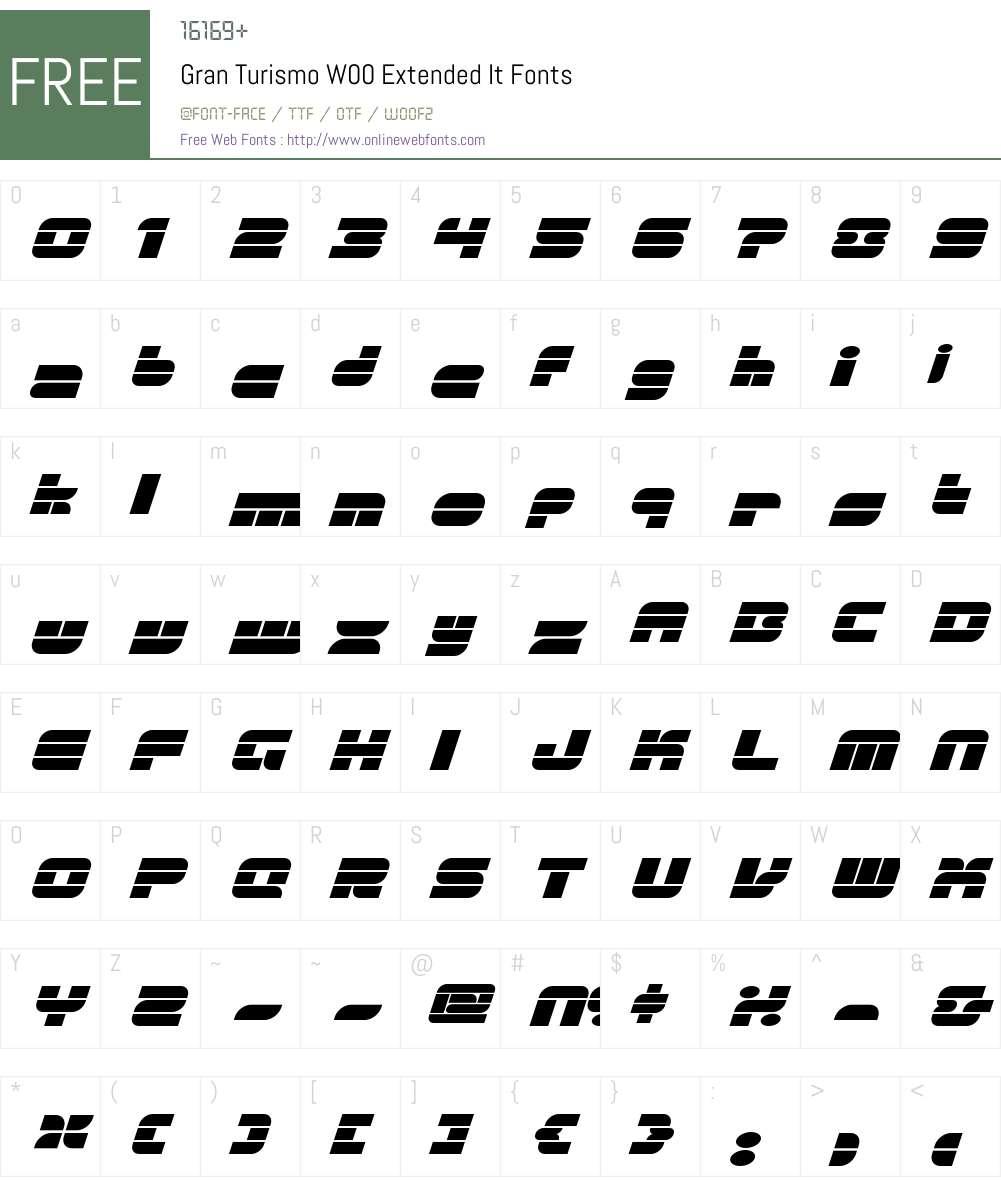 GranTurismoW00-ExtendedIt Font Screenshots