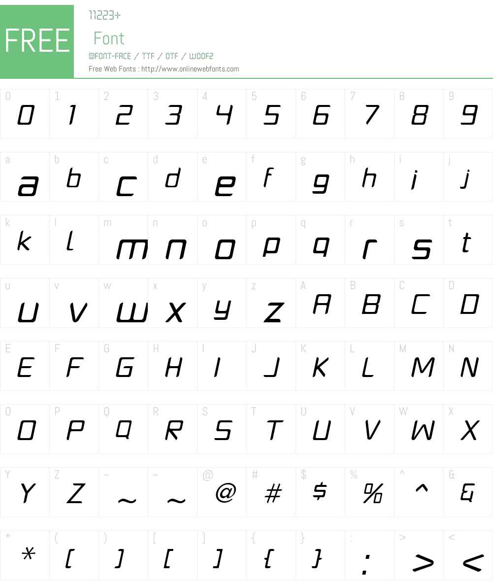 PlatformOneW00-RegularIt Font Screenshots