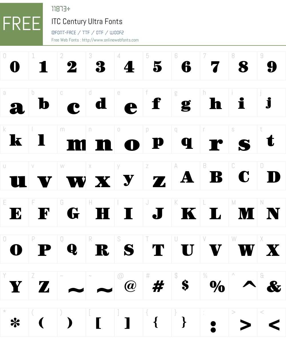 ITC Century Font Screenshots