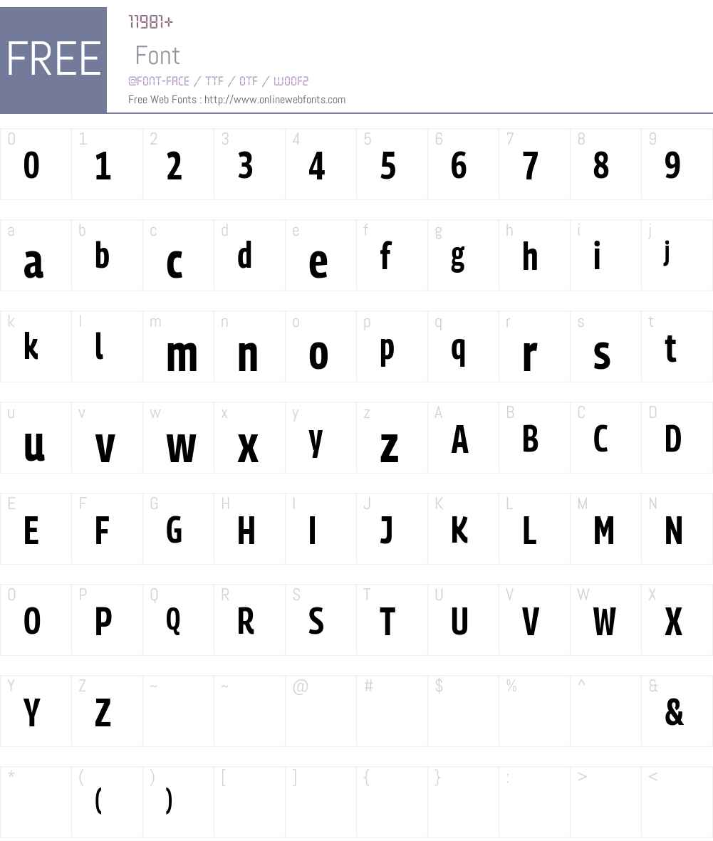 PanoramaW Condensed Font Screenshots