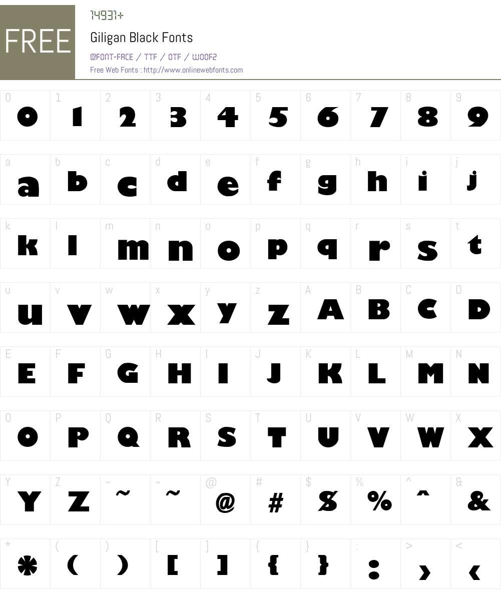 Giligan Black Font Screenshots