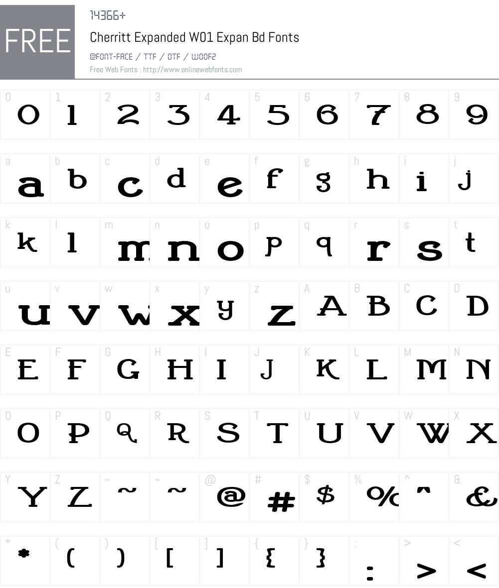 CherrittExpandedW01-ExpanBd Font Screenshots