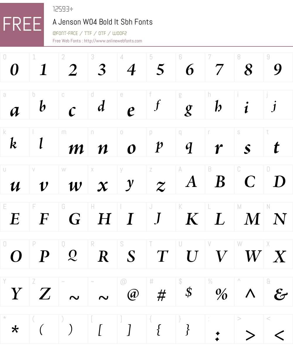 AJensonW04-BoldItSbh Font Screenshots