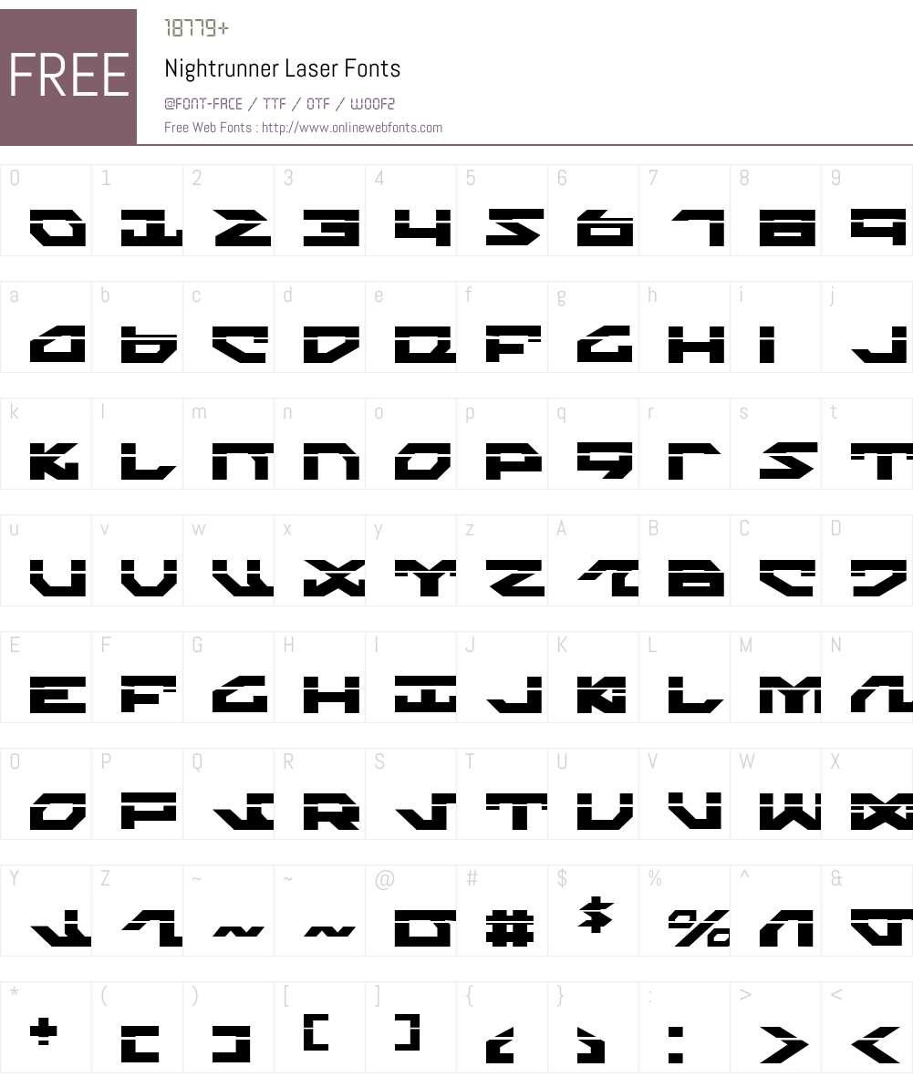 Nightrunner Laser Font Screenshots
