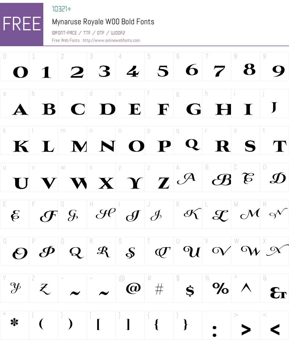 Mynaruse Royale Bold Font Screenshots