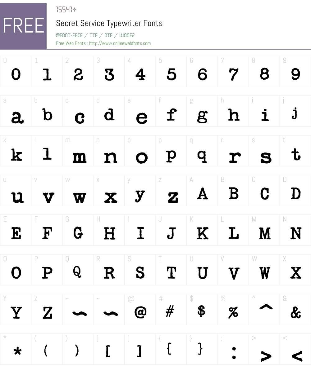 Secret Service Typewriter Font Screenshots